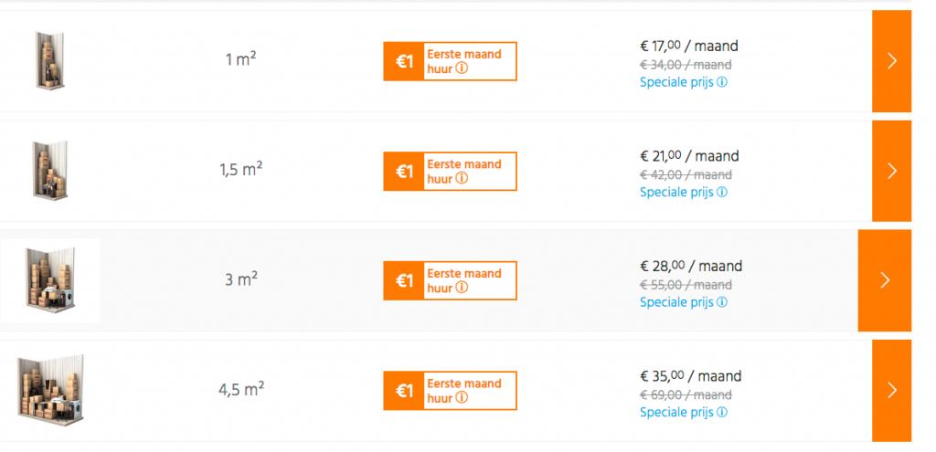 Opslagruimte huren in Nederland hoeveel kost dat